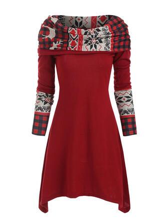 Nadrukowana/W kratę Długie rękawy W kształcie litery A Długośc do kolan Boże Narodzenie/Casual Łyżwiaż Sukienki
