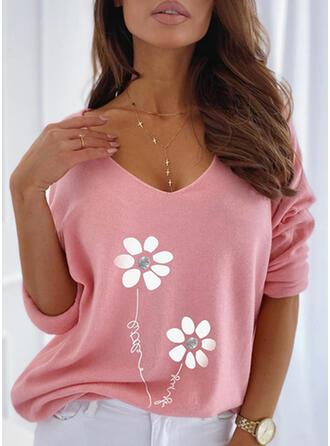 Kwiatowy Nadruk Wytłaczany Dekolt w kształcie litery V Długie rękawy T-shirty