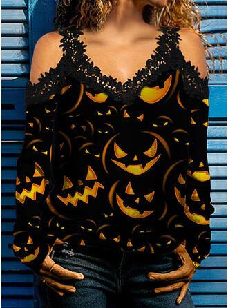 Halloween Nadruk Koronka Zimne ramię Długie rękawy cold ramion rękaw Nieformalny Bluzki