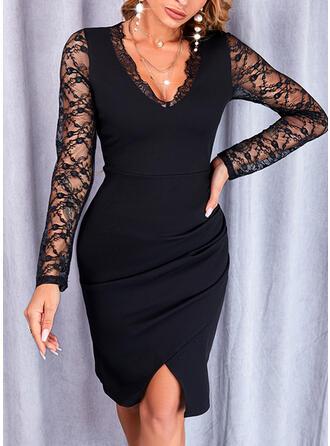 Jednolity Koronka Długie rękawy Pokrowiec Długośc do kolan Mała czarna/Elegancki Sukienki