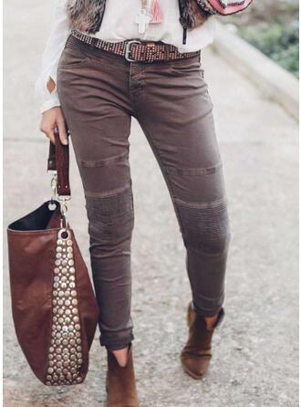 Jednolity Długo Zabytkowe Duży rozmiar Pocket Przycisk Spodnie