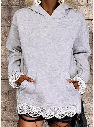 Jednolity Koronka Bluza z kapturem Długie rękawy Bluza z kapturem