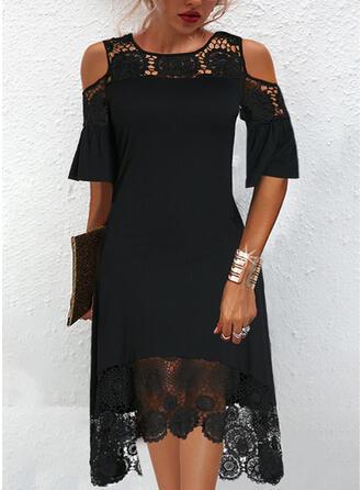 Jednolity Koronka Rękawy 1/2 cold ramion rękaw Suknie shift Długośc do kolan Mała czarna/Elegancki Sukienki