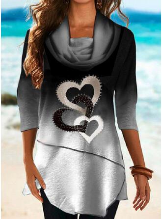 Gradient Serce Nadruk Długie rękawy T-shirty