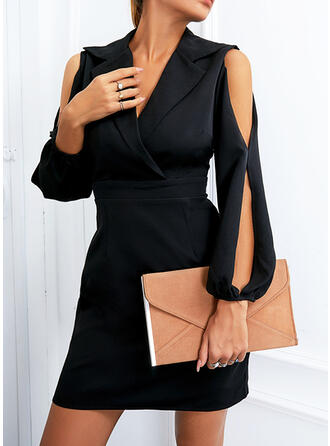 Jednolity Długie rękawy Slit Sleeves Pokrowiec Nad kolana Mała czarna/Elegancki Sukienki