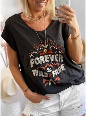 Figure Print Round Neck Short Sleeves T-shirts