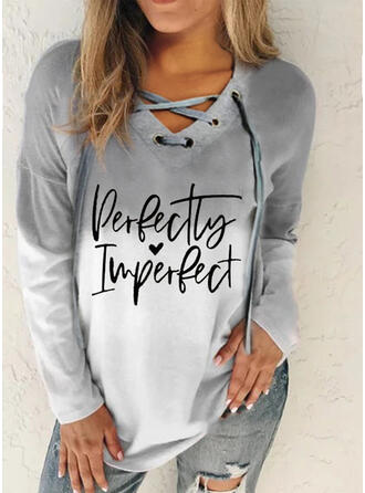 Print Figure Gradient Heart V-Neck Long Sleeves Sweatshirt