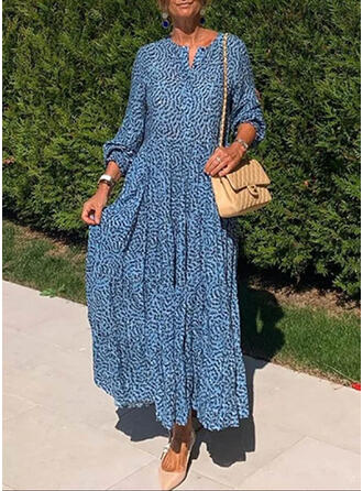 Print Long Sleeves A-line Skater Casual/Boho Maxi Dresses