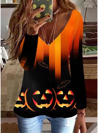 Halloween Gradient Nadruk Zwierzę Dekolt w kształcie litery V Długie rękawy T-shirty