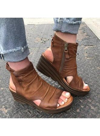 Women's PU Wedge Heel Sandals Platform Wedges Peep Toe Heels With Zipper Solid Color shoes