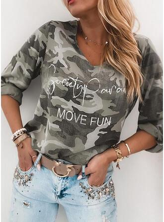 Print Figure V-Neck Long Sleeves Casual T-shirts