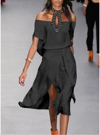 Sequins/Solid 1/2 Sleeves A-line Skater Little Black/Elegant Midi Dresses