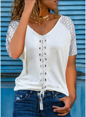 Solid Lace Lace-up V-Neck Short Sleeves Casual Blouses