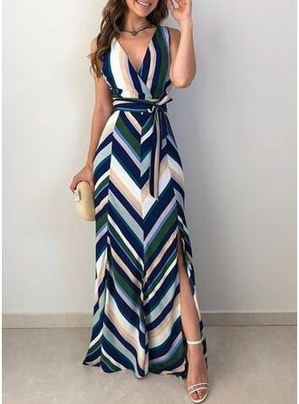 W paski Bez rękawów W kształcie litery A Seksowna/Przyjęcie/Wakacyjna Maxi Sukienki
