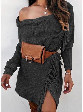 Jednolity Na jedno ramię Długie Seksowny Sukienka sweterkowa