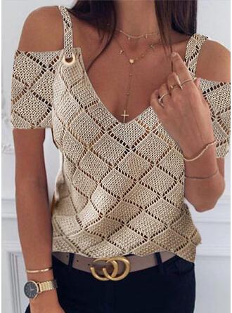 Jednolity Odkryte ramię Casual Swetry