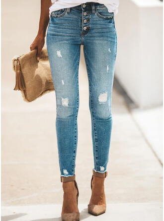 Shirred Plus Size Ripped Long Elegant Sexy Denim & Jeans