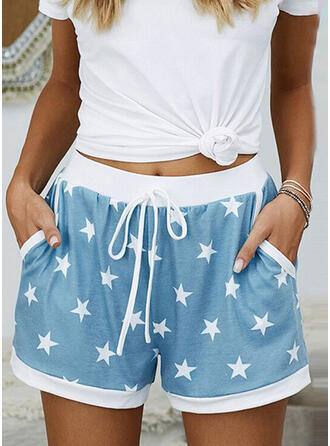 Geometric Print Pockets Casual Print Shorts