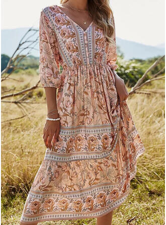 Print/Floral 3/4 Sleeves A-line Skater Casual/Boho/Vacation Midi Dresses