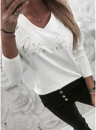 Figure Print V-Neck Long Sleeves T-shirts