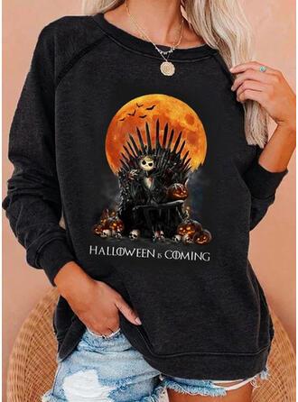 Halloween Zwierze Okrągły dekolt Długie rękawy Bluza