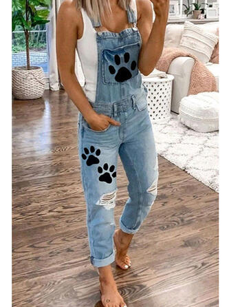 Animal Print Pockets Plus Size Ripped Long Casual Solid Denim & Jeans Jumpsuits & Rompers