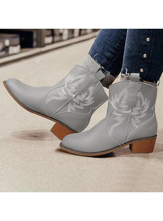 Women's PU Chunky Heel Ankle Boots Round Toe With Zipper Floral Print shoes