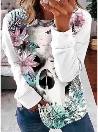 Nadruk Kwiatowy Okrągły dekolt Długie rękawy Bluza