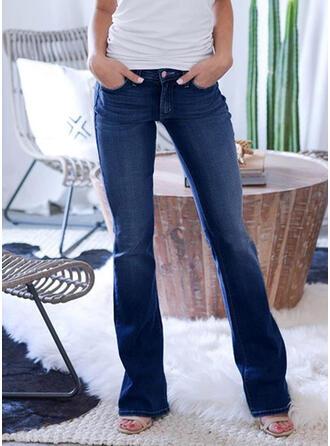 Jednolity Marszczona Duży rozmiar Długo Elegancki Seksowny Dżinsy