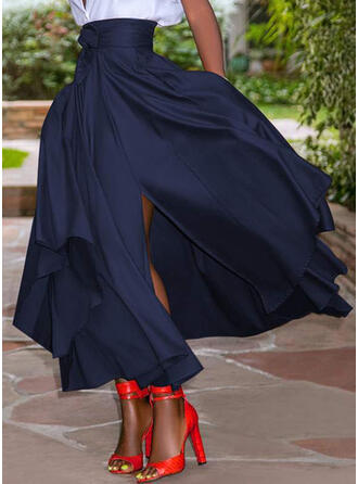 Szyfon Równina Do Połowy Łydki Spódnice o dużym odcieniu Spódnice A-Line