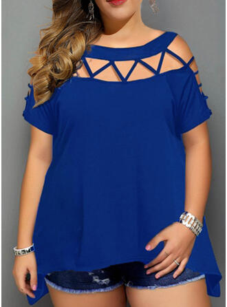 Solid Round Neck Short Sleeves Casual Plus Size Blouses