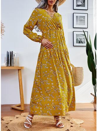Nadruk/Kwiatowy Długie rękawy Sukienka Trapezowa Łyżwiaż Nieformalny Maxi Sukienki