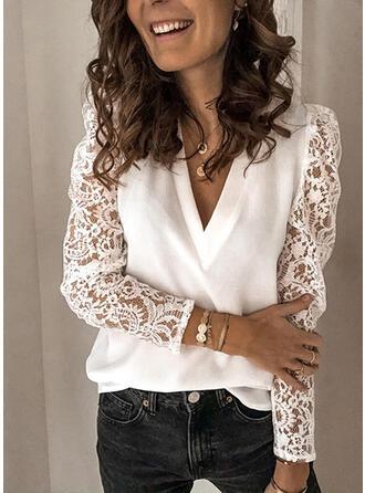 Jednolity Koronka Dekolt w kształcie litery V Długie rękawy shim sleeve Elegancki Bluzki