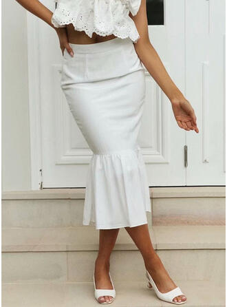 Cotton Plain Mid-Calf Flared Skirts