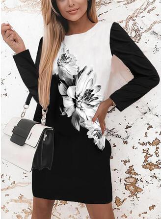 Nadruk/Kwiatowy/Blok Koloru Długie rękawy Suknie shift Nad kolana Nieformalny Tunika Sukienki