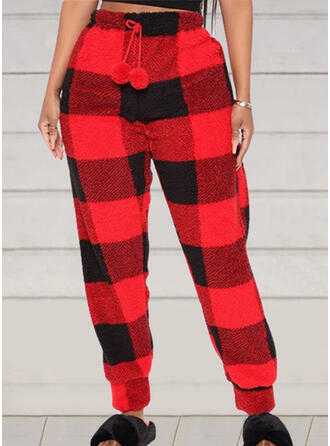 Plaid Drawstring Casual Sporty Stretchy Lounge Pants