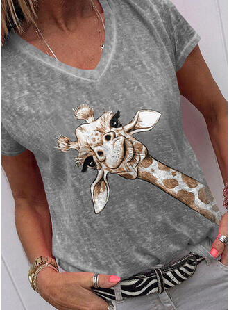 Animal Print V-Neck Short Sleeves T-shirts