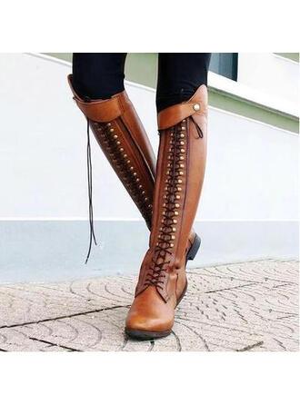 Dla kobiet Skóra ekologiczna Niski Obcas Kozaki Z Nit Zamek błyskawiczny obuwie