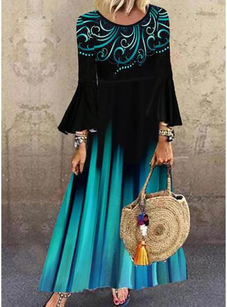 Nadrukowana Długie rękawy/Rozkloszowane rękawy Koktajlowa Casual Maxi Sukienki