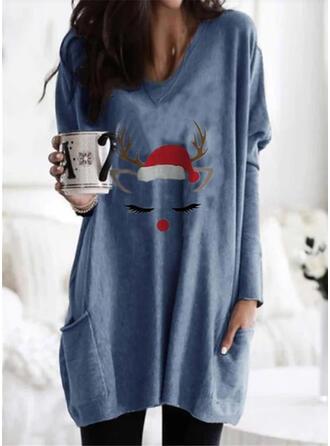 Boże Narodzenie Nadruk Okrągły dekolt Długie rękawy Świąteczna bluza