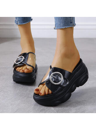 Women's PU Flat Heel Sandals Flats Platform Peep Toe Slippers With Button shoes