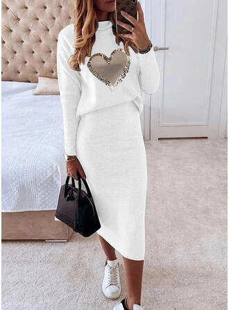 Nadruk/Serce Długie rękawy Bodycon Ołówkowa Nieformalny Midi Sukienki