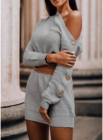 Jednolity Na jedno ramię Casual Długie Sukienka sweterkowa