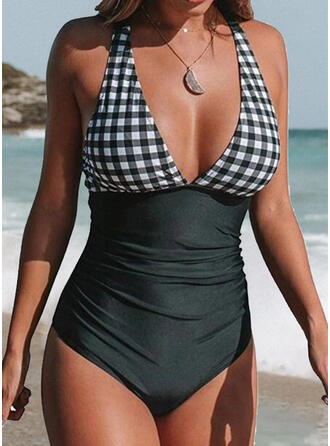 Plaid V-Neck Strapless Sexy Elegant One-piece Swimsuits