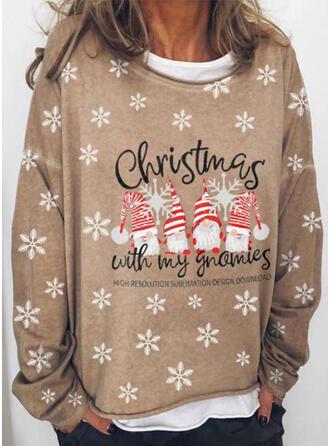 Print Figure Round Neck Long Sleeves Christmas Sweatshirt