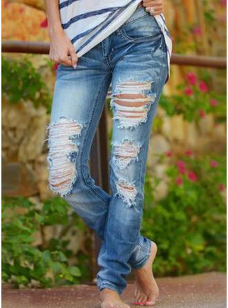 Jednolity Bawełna Długo Nieformalny Zabytkowe Duży rozmiar Pocket shirred Ripped Spodnie Dżinsy