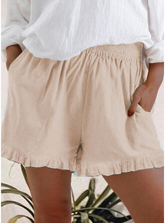 Pockets Plus Size Casual Plain Shorts