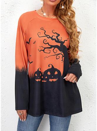 Halloween Nadruk Blok Koloru Okrągły dekolt Długie rękawy Bluza