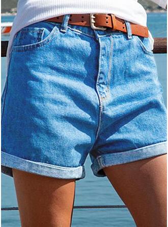 Jednolity Bawełna Nad kolanem Zabytkowe Duży rozmiar Pocket shirred Spodnie Szorty Dżinsy