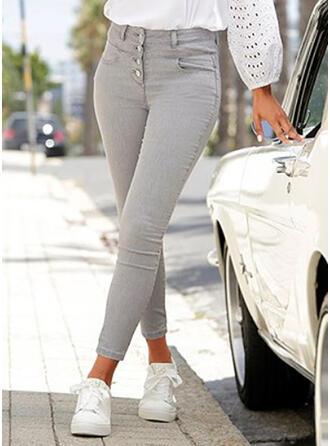 Jednolity Dżinsowa Długo Nieformalny Elegancki Duży rozmiar Pocket Przycisk Dżinsy